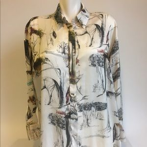 Zara Basic Long Sleeves Multicolor Blouse size L